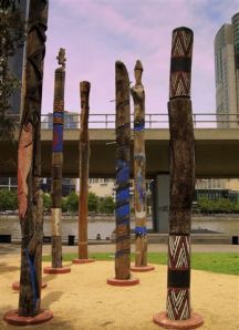 Aboriginal totems by the Yarra